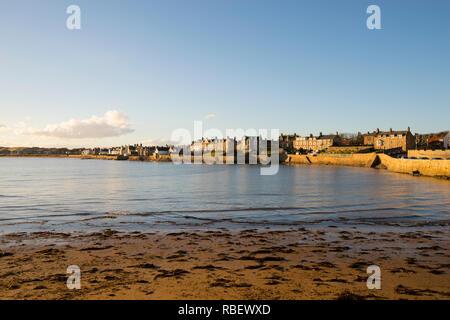 Elie Beach on a sunny autumn evening, Fife, Scotland, UK - Stock Image
