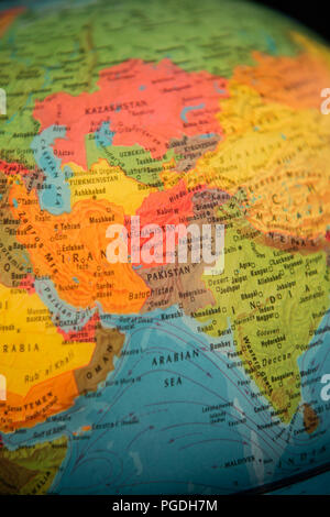 Globe focused on the Middle East - Stock Image