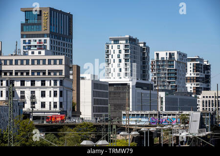 Skyline of the new buildings, along the railway line between the Duesseldorf Central Station and Duisburg, the new city districts Derendorf, a former - Stock Image