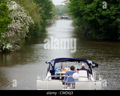 Large river boat on the River Thames near Culham Lock, Oxfordshire - Stock Image