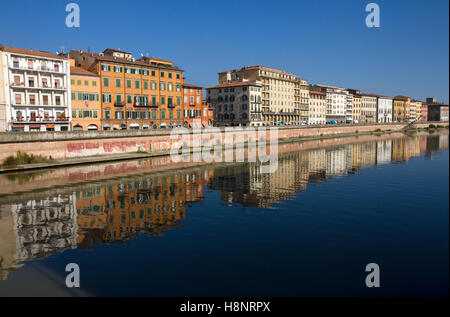 Buildings on Lungarno Mediceo fronting River Arno, city centre, Pisa, Tuscany, Italy - Stock Image