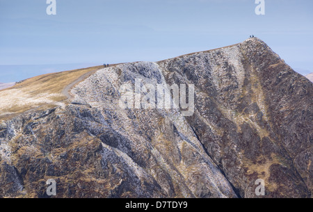 Hikers Walking towards the summit of Hopegill Head in the Lake District - Stock Image