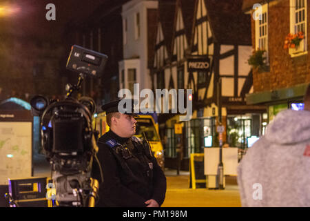 Salisbury Wiltshire, England, 16th September 2018  Police cadet on duty supporting officers manning the police cordon in front of the Prezzos restaurant where there was a suspected repeat of the Novichok poisoning   Credit Estelle Bowden/Alamy news Credit: Starsphinx/Alamy Live News - Stock Image