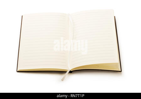 Open empty notebook  mockup isolated on a white background - Stock Image