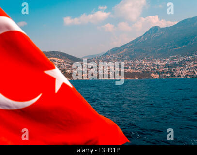 View of Kalkan Town, Which is on the Turkish Mediterranean coast. - Stock Image