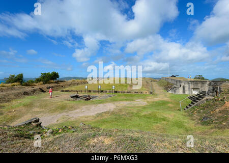 View of Green Fort Hill, a touristic landmark of Thursday Island, Far North Queensland, FNQ, QLD, Australia - Stock Image