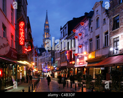 Bruxelles City Centre with historic town hall in the background, Belgium - Stock Image