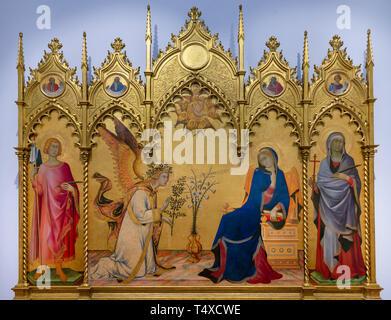 Annunciation with St Ansanus and St. Maxima, The Prophets Jeremiah, Ezekiel, Isaiah and Daniel, Simone Martini and Lippo Memmi, 1333, Galleria degli U - Stock Image