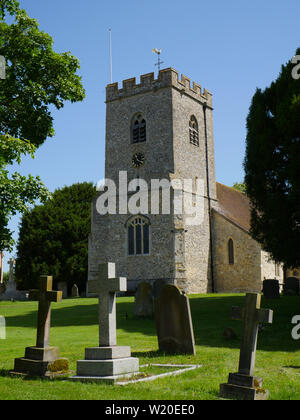 On The Ridgeway Path, St. Andrew's parish church, South Stoke, Oxfordshire, England, UK, GB. - Stock Image