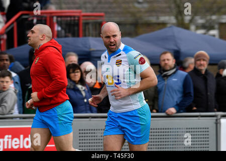 Crusaders Park, St Helens, UK. 14th Apr, 2019. Coral Challenge Cup rugby, Thatto Heath Crusaders versus Dewsbury Rams; Liam Finn of Dewsbury Rams taking part in the pre match warm up Credit: Action Plus Sports/Alamy Live News - Stock Image