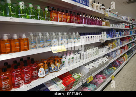 soap shelf in a supermarket - Stock Image