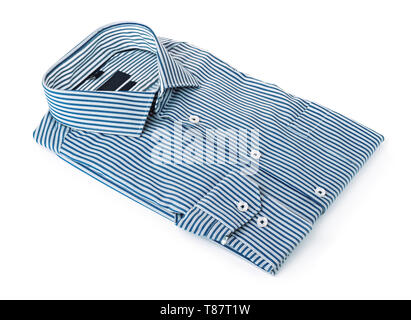 Blue folded mens striped  cotton shirt isolated on white - Stock Image