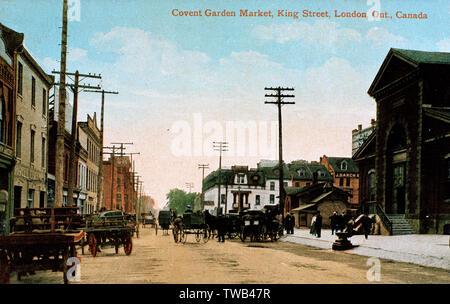 Covent Garden Market, King Street, London, Ontario, Canada.  circa 1905 - Stock Image