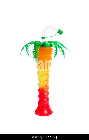 Palm Tree Novelty Slush Yard Cup with multicolour slush on a white background - Stock Image