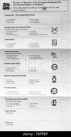 Scottish ballot paper for  European Parliament election, Electoral Region of Scotland, May 2019 with 8 political parties - Stock Image