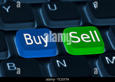 Buy and Sell buttons on a computer keyboard. Buying and selling concept. - Stock Image