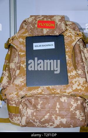 February 18, 2019 - Abu Dhabi, UAE: Camouflage solar backpack - Stock Image