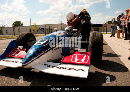USA, Indiana, Indianapolis Motor Speedway, Indy 500 car at Dellara car manufacturing facility for tourist rides. - Stock Image