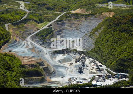 Belmont Quarry, Lower Hutt, Wellington, North Island, New Zealand - aerial - Stock Image