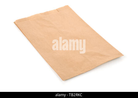 Folded kraft paper bag isolated on white - Stock Image