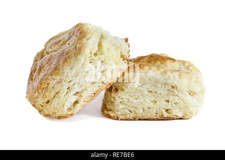 Two buttermilk southern biscuits or scones isolated over a white background with light shadow and clipping path.. - Stock Image