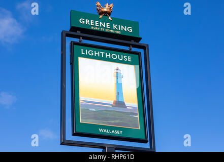 Exterior sign for The Lighthouse public house Wallasey Village part of the Greene King pub and restaurant chain Wallasey Village February 2019 - Stock Image