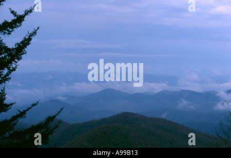 Distant view from the Blue Ridge Parkway North Carolina - Stock Image