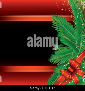 Christmas background with pine leaves and bow - Stock Image
