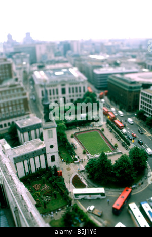 View from the top of Saint Peters Cathedral looking down.  Image has been filtered in Photoshop to make it look - Stock Image