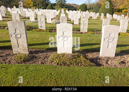 Rows of gravestones at Tidworth military cemetery, Tidworth, Wiltshire, England, UK - Stock Image