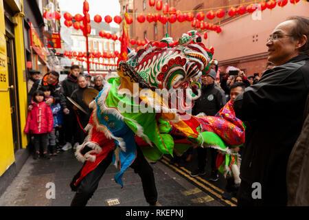 London, UK, 10 February, 2019. Chinese New year celebration at China Town, SOHO, London, UK where Dragon visits all the Chinese shops. Alamy/Harishkumar Shah - Stock Image