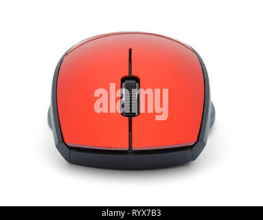 Front of Red Mouse Isolated on White Background. - Stock Image