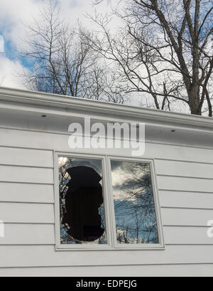 vandalized broken window on house or by bird in flight - Stock Image
