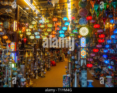 Colourful lights and light fittings on display in a shop in Arab Street Singapore - Stock Image