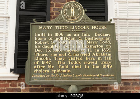 Mary Todd Lincoln Home Historical Marker and Plaque - Stock Image