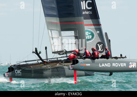 Portsmouth, UK. 25th July 2015. The crew work hard on Landrover BAR as she turns during racing. Credit:  MeonStock/Alamy - Stock Image