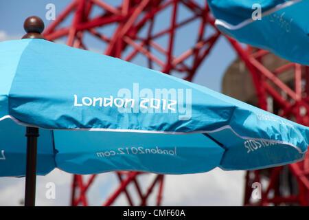 Umnbrella in sunshine at Olympic Park, London 2012 Olympic Games site, Stratford London E20 UK, - Stock Image