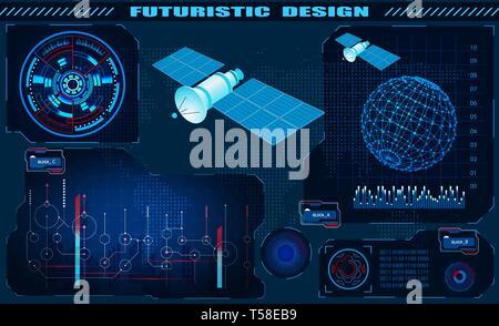 Futuristic graphical interface, satellite control, hud design, hologram of the globe. illustration - Stock Image