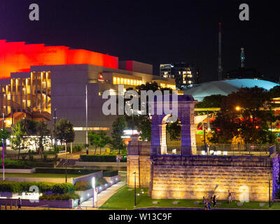 Brisbane Performing Arts Centre At Night - Stock Image