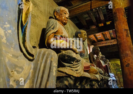 Arhat statues inside the hall housing the 35-meter long huge reclining Buddha statue, Dafo (Great Buddha) Temple, Zhangye, Gansu Province, China - Stock Image