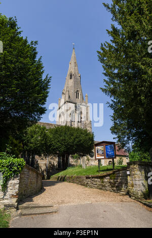 St Mary The Virgin, an 18th century parish church, in the village of Wollaston, Northamptonshire, UK - Stock Image