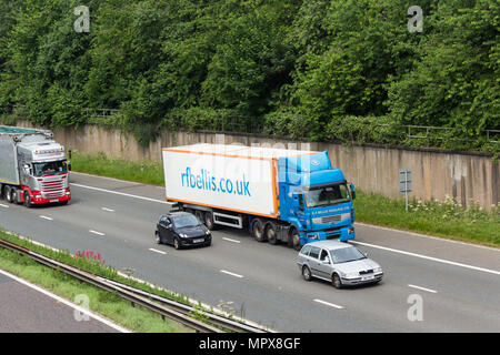 Car and HGV traffic, including a R.F Bellis Haulage Ltd articulated lorry, on the M61 near Farnworth, heading east for the M60/M62 intersection. The R - Stock Image