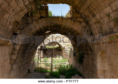 Archaeological Scaffold Abandoned in a Stone Archway Corridor Tunnel - Jerash Jordan - Stock Image