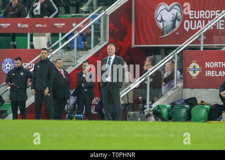 National Football Stadium at Windsor Park, Belfast, Northern Ireland. 21 March 2019. UEFA EURO 2020 Qualifier- Northern Ireland v Estonia. Northern ireland manager Michael O'Neill. Credit: David Hunter/Alamy Live News. - Stock Image