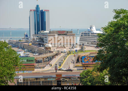 Odessa, Ukraine, Marine station view from the Potemkin stairs - Stock Image
