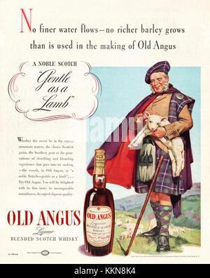 1938 U.S. Magazine Old Angus Whisky Advert - Stock Image