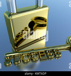 Padlock With Success Key Showing Strategy Planning Or Solutions - Stock Image