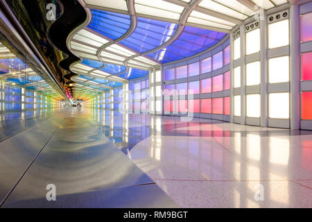 Wide-angle view of neon art installation Sky's The Limit, by Michael Hayden, Terminal 1, Chicago O'Hare International Airport Terminal, Illinois, USA - Stock Image