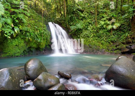 Most famous touristic site in Guadeloupe, french west indies, 'cascade aux ecrevisses' (crawfishes waterfall). - Stock Image