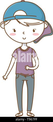Stylish boy blushing cartoon outfit jeans backwards cap  isolated vector illustration graphic design - Stock Image